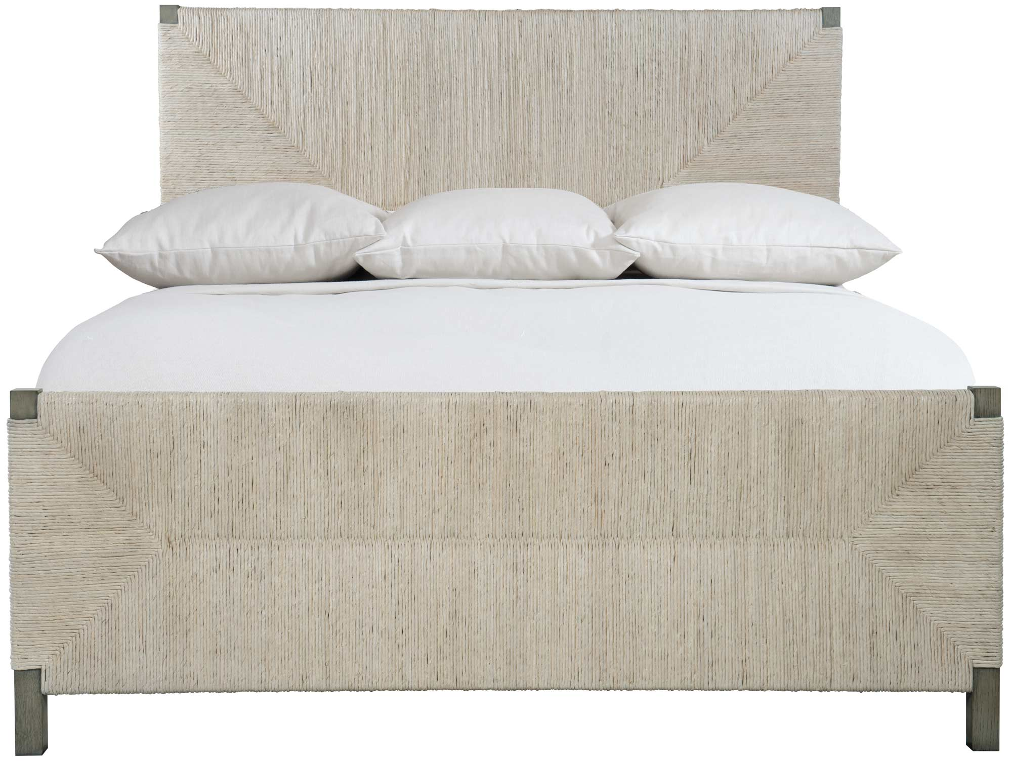 Bernhardt Interiors Alannis Woven King Panel Bed in Light Gray Wash